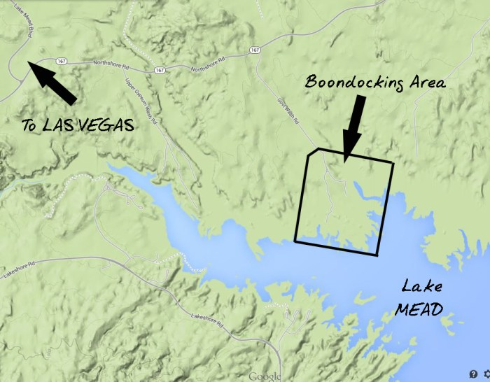 General map of boondocking area
