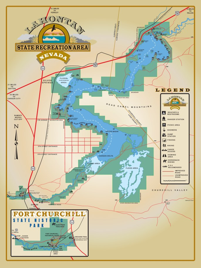 Map of Lahontan Lake State Recreation Area. We stayed in the developed campground by Silver Springs Beach #7.