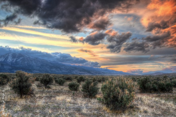 An HDR shot of the sunset view from our side window
