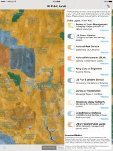 Screen shot of Public Lands on iPad