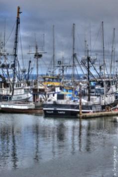 Grey reflections of fishing boats