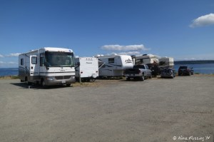 View of row of RV's facing the water. These are sites 311-307 (left to right). Not much separation (at all), but great views out the front.
