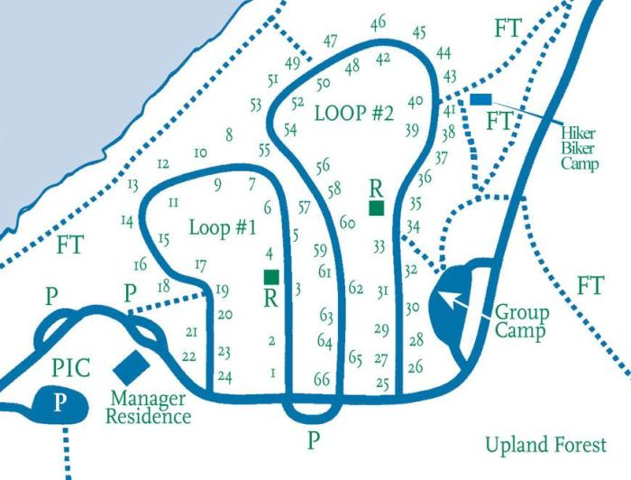 Campground Map showing Loop 1 (non-reservation) and Loop 2 (mostly reservation).