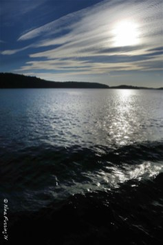 Last light on the sail back to Orcas