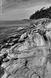 Sandstone folds on the shore