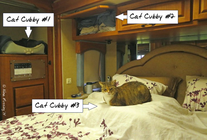 "We have 3 ""cat cubby"" spots in the bedroom"