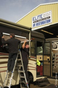 The Elite boys install our new window awning