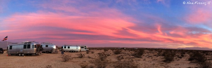Sunset over the Airstream gang