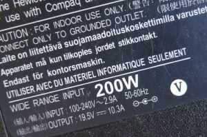 The power brick on my computer shows that it uses up to 200 watts (yes, my computer is a sucker!)