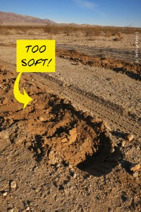 """Deep tire tracks are evidence of soft ground. NOT a good spot for """"the beast"""""""