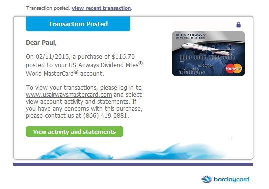 We have auto-alerts on all our credit cards
