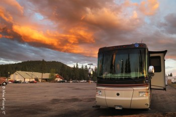 Sunset over our RV at the Casino