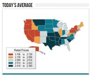 Gas prices vary significantly across state lines