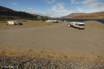 View of rigs from the small hill next to our site