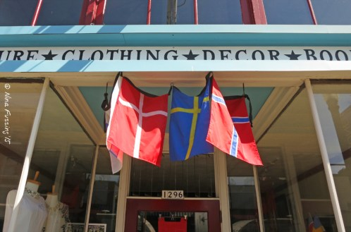 Scandinavian shop & flags downtown