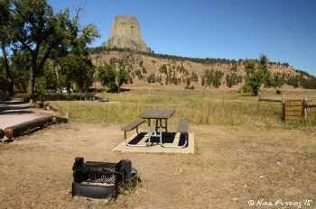 """Typical """"sitting area"""". Large, cleared-out grassy areas with picnic table and fire-pit. This is the awesome view from B17."""