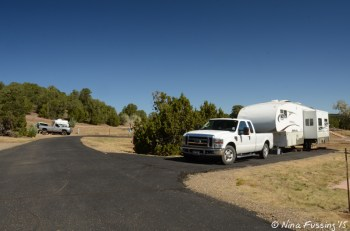View down first loop. 5th wheel in site #10 on right, with site #9 in background on left.