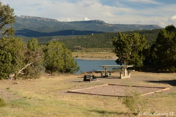 """""""Sitting area"""" with picnic table and fire-pit. This is water-view site #52. It also has a tent spot."""