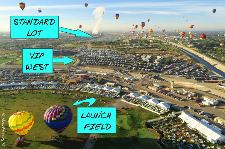 Sky view of launch field looking south. VIP West is in front. Standard Lot in back.