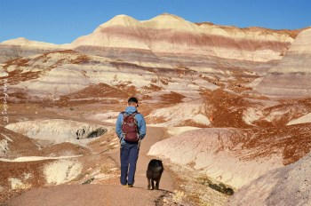 Paul and Polly hike into Blue Mesa