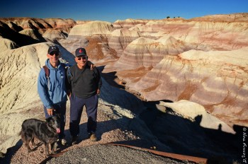 Polly, Paul and his dad pose at the Painted Hills, AZ