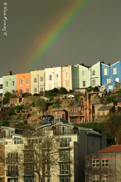 Rainbow over the colorful houses of Hotwells