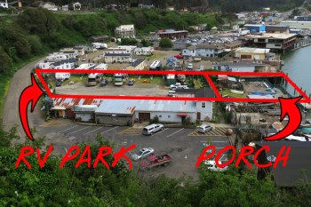 """'Aerial"""" view of RV park and porch/deck area taken from Hwy 1. We were the only 2 rigs in camp,."""