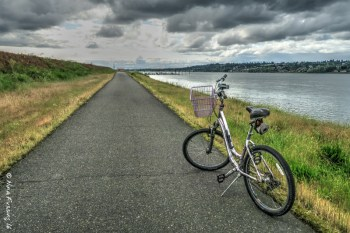 Biking along the Marina Trail just down the road from RV park