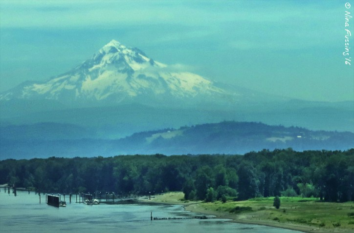 A grainy shot of Mount Hood through the RV windshield right by Portland, OR