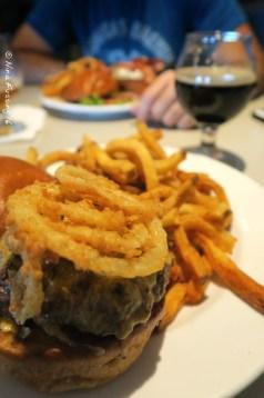 Elk burger and beer at Sawtooth