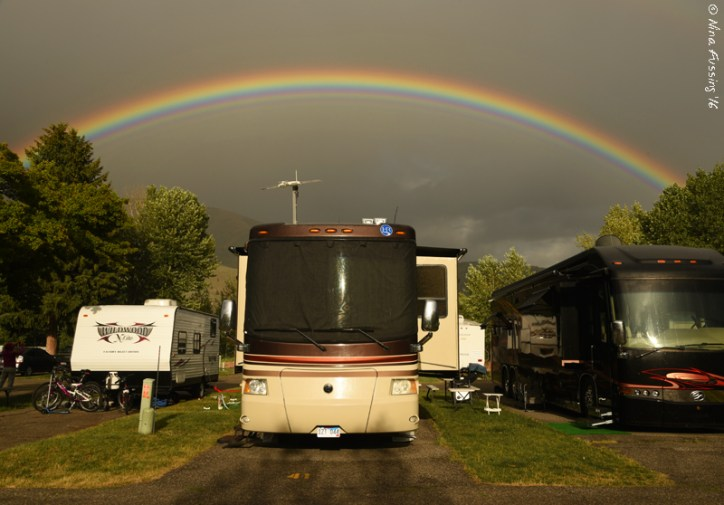 Nothing makes a cramped RV park look as pretty as a full rainbow after a light rain.