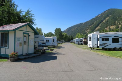 View from main entrance to RV park. Check-in office is on the left.