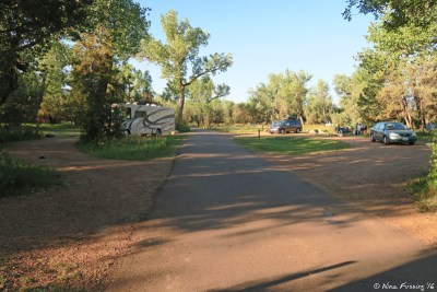 View towards entrance of right loop. Site 5 on left, sites 6, 7 on right