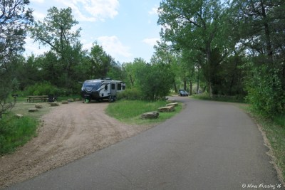 View further down campground. This is #24, another spacious pull-through.