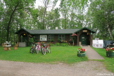 View of campground check-in office. The bicycles are for rent.