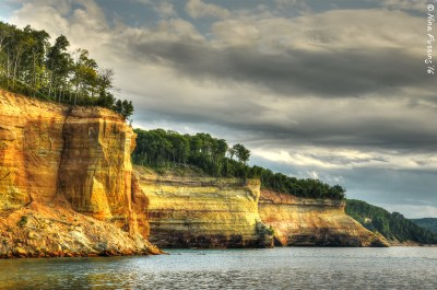 The best way to see the cliffs are from the lake