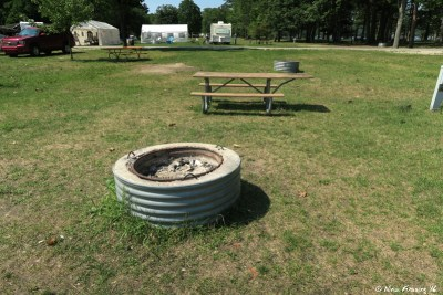 Typical fire pit and picnic table at each site.