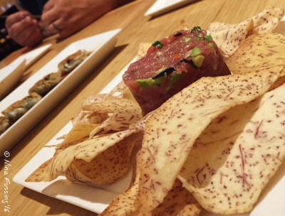 A delicious tuna tartare with taro chips at Pacific Rum