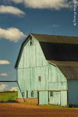 An unusual green barn near Manchester, MI