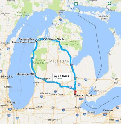 "Our very quick western ""mitt"" travel route"