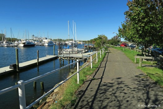 View of waterfront hiking path by the RV park