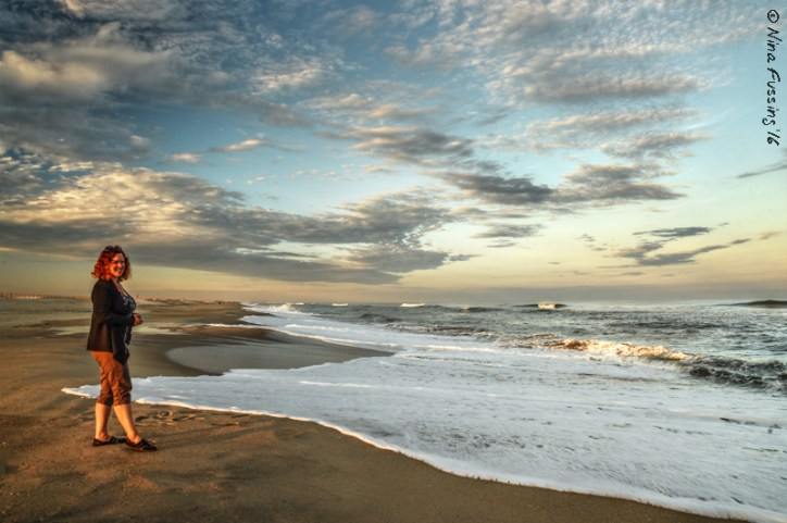 Cherie poses for a lovely sunset on Assateague Beach
