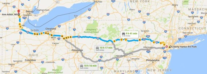 Our Google route East. But are there any tolls? Or low clearances? Google doesn't say!
