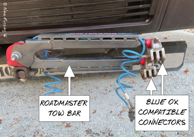 We actually have a Roadmaster tow bar with Blue Ox compatible connectors