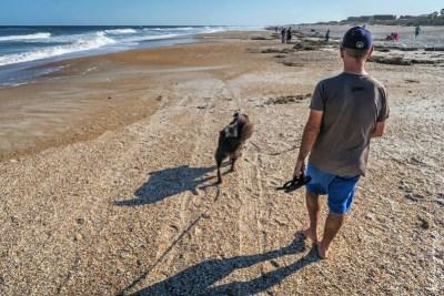 Walking Polly on St Augustine Beach