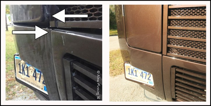 BEFORE and AFTER pics of the repair. We were pleased.