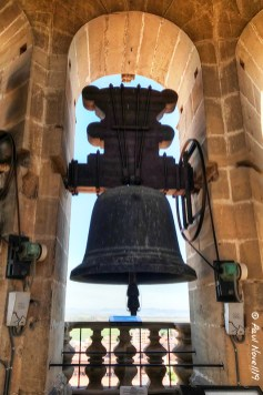 One of the bells inside the clock tower