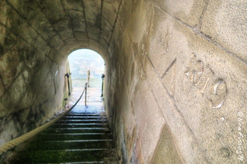 The tunnel from the water to the lighthouse