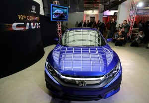 The Honda Civic Coupe production model is shown at Honda's Advanced Design Studio as part of the Los Angeles Auto Show on Tuesday, Nov. 17, 2015, in Los Angeles. (AP Photo/Chris Carlson)