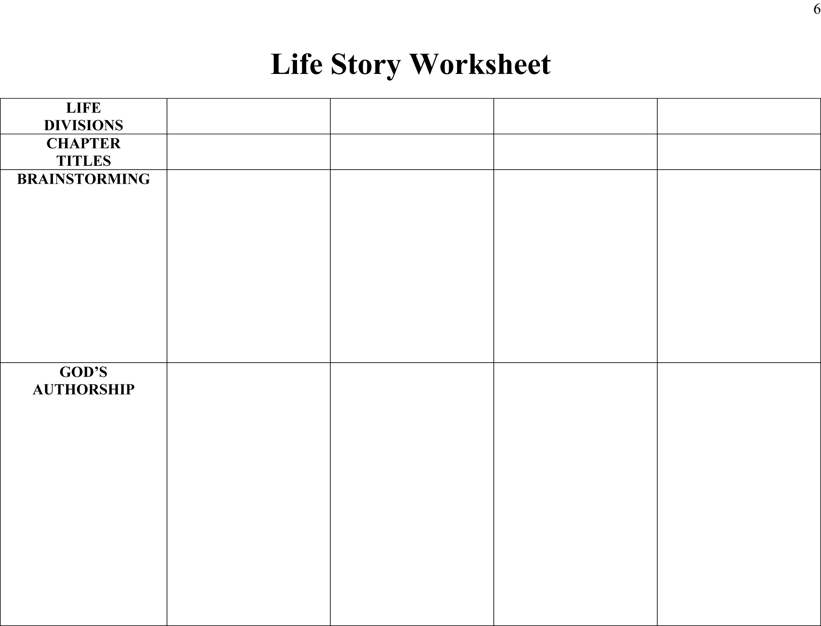 Therapy Life Story Worksheet